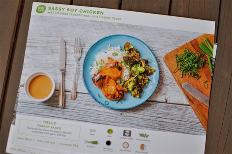 Hello Fresh Sassy Soy Chicken with Roasted Broccoli and Lime Peanut Sauce