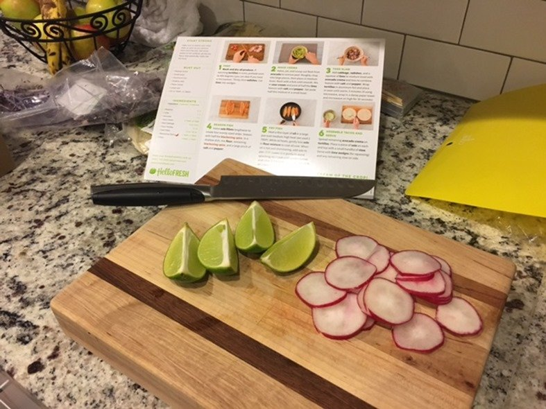 Hello Fresh Tacos with Sole featuring an Avocado Crema and Crispy Cabbage Slaw prep