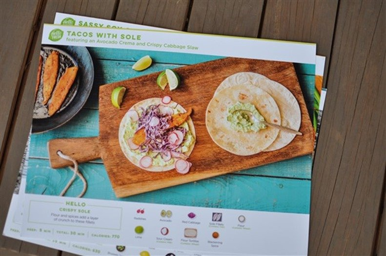 Hello Fresh Tacos with Sole featuring an Avocado Crema and Crispy Cabbage Slaw
